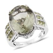 Green Amethyst, Hebei Peridot Platinum Over Sterling Silver Ring (Size 10.0) TGW 17.75 cts.