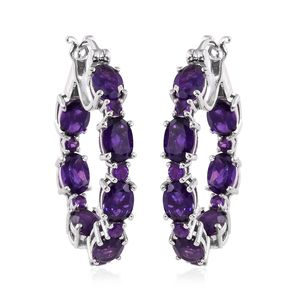 Lusaka Amethyst Platinum Over Sterling Silver Inside Out Hoop Earrings TGW 10.60 cts.
