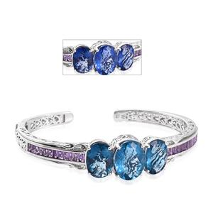 Color Change Fluorite, Amethyst Platinum Over Sterling Silver Cuff (7.25 in) TGW 25.34 cts.