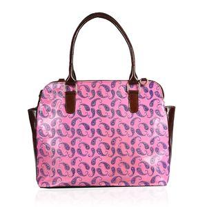 Vivid by Sukriti Pink Paisley Leather Tote Bag