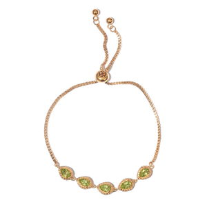 KARIS Collection - Hebei Peridot ION Plated 18K YG Brass Bolo Bracelet (Adjustable) TGW 3.75 cts.