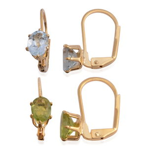 Sky Blue Topaz, Hebei Peridot Goldtone Set of 2 Earrings TGW 3.32 cts.