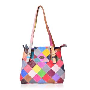 Multi Color Checker Embroidered Genuine Leather Bucket Bag with Removable Strap (14x5x8.5 in)
