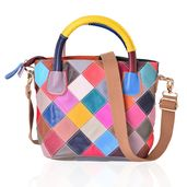 Multi Color Checker Embroidered Genuine Leather Shoulder Bag with Removable Strap (12.5x5.5x8 in)