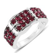 Stainless Steel Buckle Ring (Size 10.0) Made with SWAROVSKI Ruby Crystal TGW 1.60 cts.
