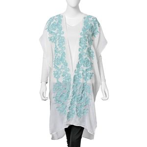 White with Turquoise Blue Floral Pattern 100% Viscose Kimono (29.53x37.41 in)