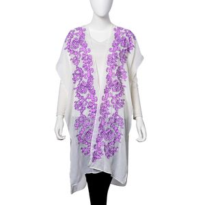 White with Purple Floral Pattern 100% Viscose Kimono (29.53x37.41 in)