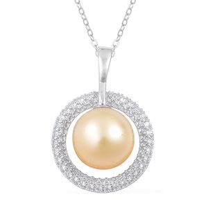 South Sea Golden Pearl (11-11.5 mm), White Zircon Sterling Silver Pendant With Chain (18 in) TGW 0.75 cts.