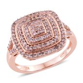 Natural Pink Diamond Vermeil RG Over Sterling Silver Ring (Size 8.0) TDiaWt 0.76 cts, TGW 0.76 cts.