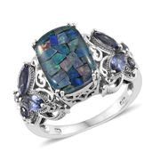Australian Mosaic Opal, Catalina Iolite Platinum Over Sterling Silver Butterfly Shank Ring (Size 9.0) TGW 5.60 cts.