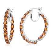 Serra Gaucha Citrine Platinum Over Sterling Silver Inside Out Hoop Earrings TGW 9.85 cts.