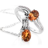 Serra Gaucha Citrine, Cambodian Zircon Platinum Over Sterling Silver Ring (Size 10) and Pendant With Chain (20 in) TGW 2.45 cts.