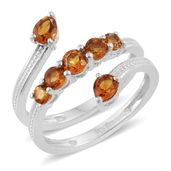 Serra Gaucha Citrine Platinum Over Sterling Silver Bypass Ring (Size 5.0) TGW 1.33 cts.