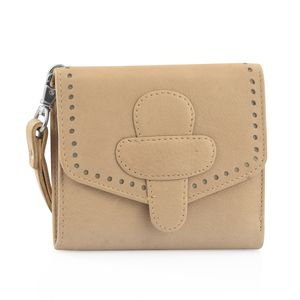 Beige 100% Genuine Leather RFID Wallet with Magnetic Loop Closure (4.25x1.5x5 in)