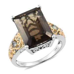 Amazon Quartz, Green Sapphire, Cambodian Zircon 14K YG and Platinum Over Sterling Silver Ring (Size 7.0) TGW 11.51 cts.