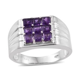 KARIS Collection - Lusaka Amethyst Platinum Bond Brass Men's Ring (Size 12.0) TGW 2.25 cts.