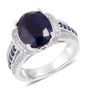 Kanchanaburi Blue Sapphire, White Zircon Sterling Silver Ring (Size 7.0) TGW 6.60 cts.