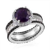 Lusaka Amethyst, Multi Gemstone Platinum Over Sterling Silver Ring (Size 9.0) TGW 7.23 cts.