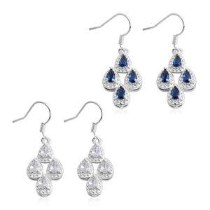 Simulated White and Blue Diamond Silvertone Set of 2 Dangle Earrings TGW 7.36 cts.