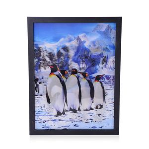 Home Decor Penguin 3D Painting with Photo Frame (16.7x12.7 in)