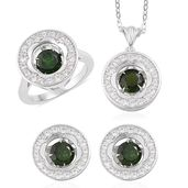 Russian Diopside, White Zircon Sterling Silver Earrings, Ring (Size 10) and Pendant With Chain TGW 5.42 cts.