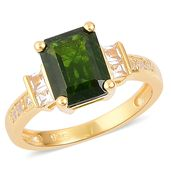Russian Diopside, White Topaz 14K YG Over Sterling Silver Ring (Size 10.0) TGW 2.65 cts.