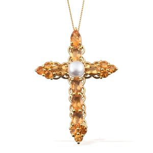 Freshwater Pearl - White, Salamanca Fire Opal 14K YG Over Sterling Silver Cross Pendant With Chain (20 in) TGW 2.61 cts.