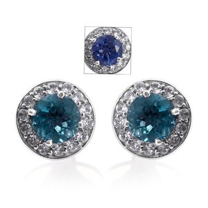 Color Change Fluorite, Cambodian Zircon Platinum Over Sterling Silver Earrings TGW 3.98 cts.
