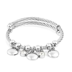 White Austrian Crystal Stainless Steel Bangle (7 in) TGW 2.00 cts.