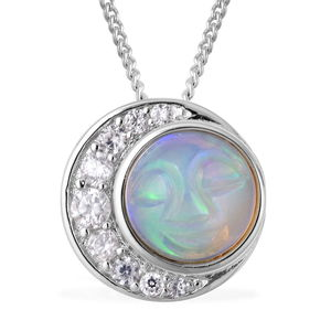 Ethiopian Welo Opal, White Zircon Sterling Silver Pendant With Chain (18 in) TGW 1.53 cts.