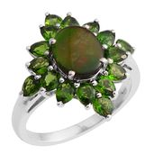 Canadian Ammolite, Russian Diopside Platinum Over Sterling Silver Ring (Size 10.0) TGW 4.65 cts.