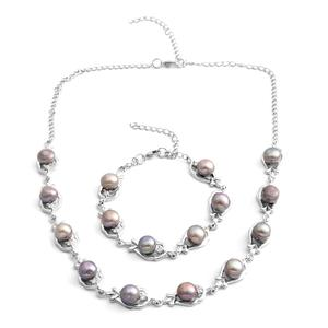 Freshwater Gray Pearl, Austrian Crystal Silvertone Bracelet (7.5 in) and Necklace (18.00 In)