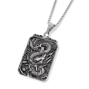 Chinese Dragon Reversible Pendant in Black Oxidized Stainless Steel