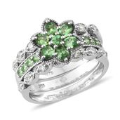 Merelani Mint Garnet, Cambodian Zircon Platinum Over Sterling Silver Stack Floral Ring (Size 5.0) TGW 2.39 cts.