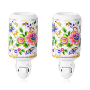 Set of 2 White Ceramic Flower and Butterfly Pattern Cylinder Shaped Aroma Diffuser Nigh Light (2.95x3.54x4.52 in)