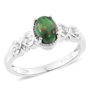 Mojave Green Turquoise, White Topaz Sterling Silver Ring (Size 7.0) TGW 1.42 cts.