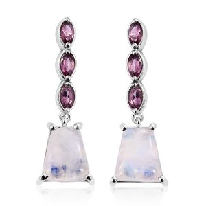 GP Sri Lankan Rainbow Moonstone, Orissa Rhodolite Garnet Platinum Over Sterling Silver Earrings TGW 9.79 cts.