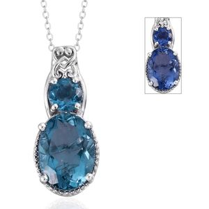 Color Change Fluorite Platinum Over Sterling Silver Pendant With Chain (20 in) TGW 8.30 cts.