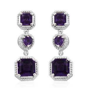 Asscher Cut Amethyst Platinum Over Sterling Silver Drop Earrings TGW 4.90 cts.