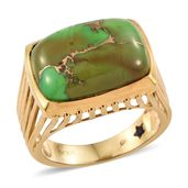 GP Mojave Green Turquoise 14K YG Over Sterling Silver Ring (Size 7.0) TGW 13.33 cts.