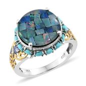 Australian Mosaic Opal, Sonoran Blue Turquoise, Tanzanite 14K YG and Platinum Over Sterling Silver Ring (Size 6.0) TGW 7.29 cts.
