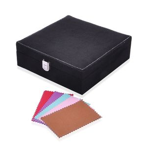One Time Only Black Velvet Jewelry Box (7.9x7.9x2.6 in) and Multi Color Set of 5 Silver Polishing Clean Cloth (4.3x2.7 in)