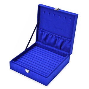 One Time Only Blue Velvet Jewelry Box (7.9x7.9x2.6 in) and Multi Color Set of 5 Silver Polishing Clean Cloth (4.3x2.7 in)