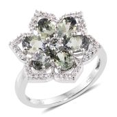 Green Tanzanite, Cambodian Zircon Platinum Over Sterling Silver Ring (Size 6.0) TGW 3.48 cts.