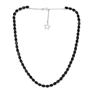 Australian Black Tourmaline, Cambodian Zircon Platinum Over Sterling Silver Necklace With Chain (18 in) TGW 40.95 cts.