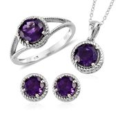 Lusaka Amethyst Platinum Over Sterling Silver Earrings, Ring (Size 8) and Pendant With Chain (20 in) TGW 6.20 cts.