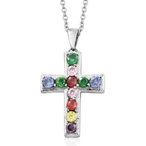 Simulated Multi Color Diamond Stainless Steel Cross Pendant With Chain (20 in) TGW 3.53 cts.