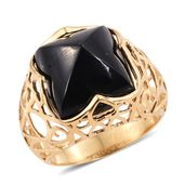 GP Australian Black Tourmaline Ring in 14K YG Over Sterling Silver 23.13 ct tw (Size 6)