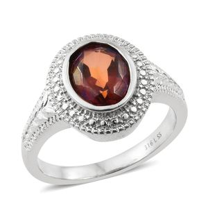 Red Minx Quartz Stainless Steel Ring (Size 9.0) TGW 2.40 cts.