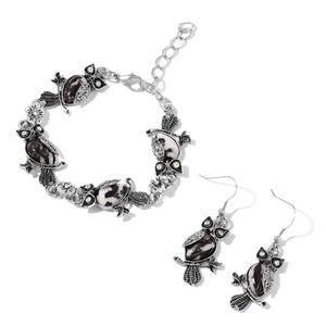 Zebra Jasper, White Austrian Crystal Black Oxidized Iron and Stainless Steel Owl Earrings and Bracelet (7.50 In) TGW 87.90 cts.